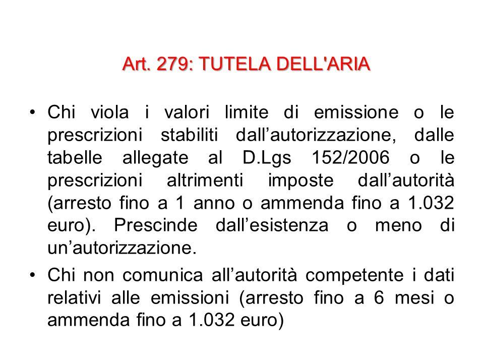 Art. 279: TUTELA DELL'ARIA Chi viola i valori limite di emissione o le prescrizioni stabiliti dall'autorizzazione, dalle tabelle allegate al D.Lgs 152