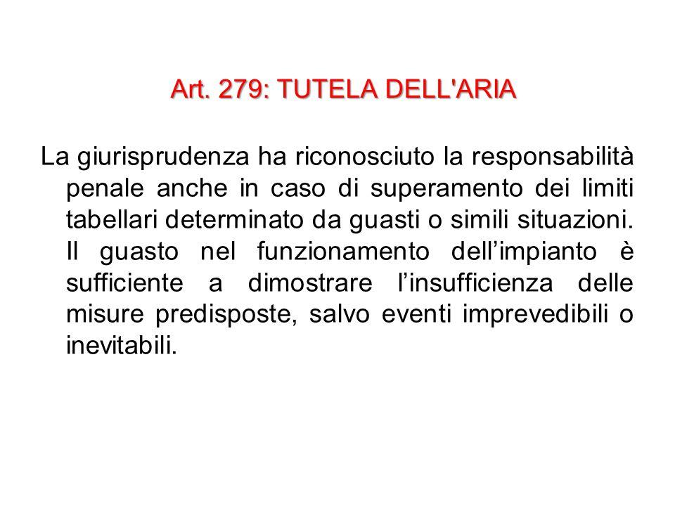 Art. 279: TUTELA DELL'ARIA La giurisprudenza ha riconosciuto la responsabilità penale anche in caso di superamento dei limiti tabellari determinato da