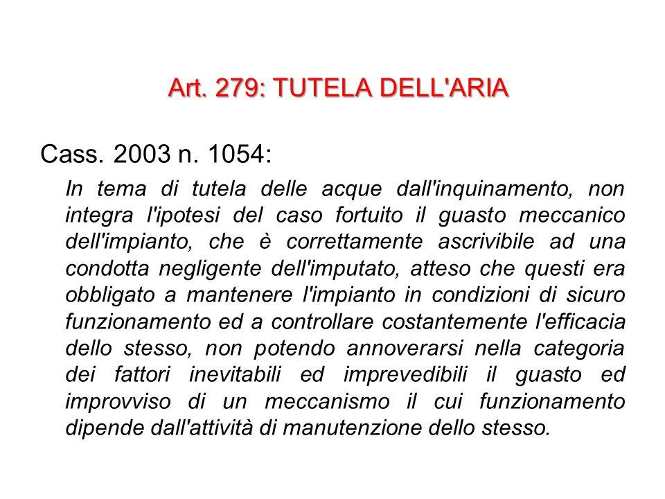 Art. 279: TUTELA DELL ARIA Cass. 2003 n.