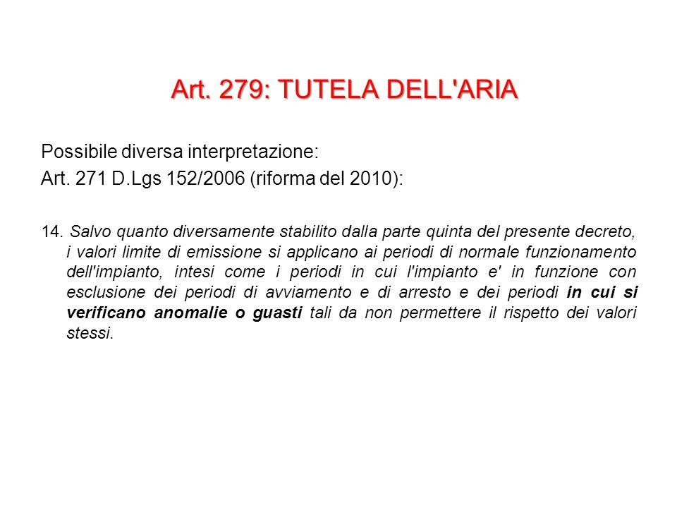 Art. 279: TUTELA DELL ARIA Possibile diversa interpretazione: Art.