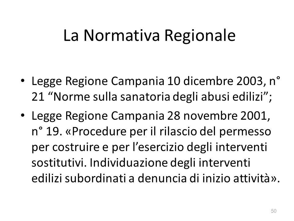 """La Normativa Regionale Legge Regione Campania 10 dicembre 2003, n° 21 """"Norme sulla sanatoria degli abusi edilizi""""; Legge Regione Campania 28 novembre"""