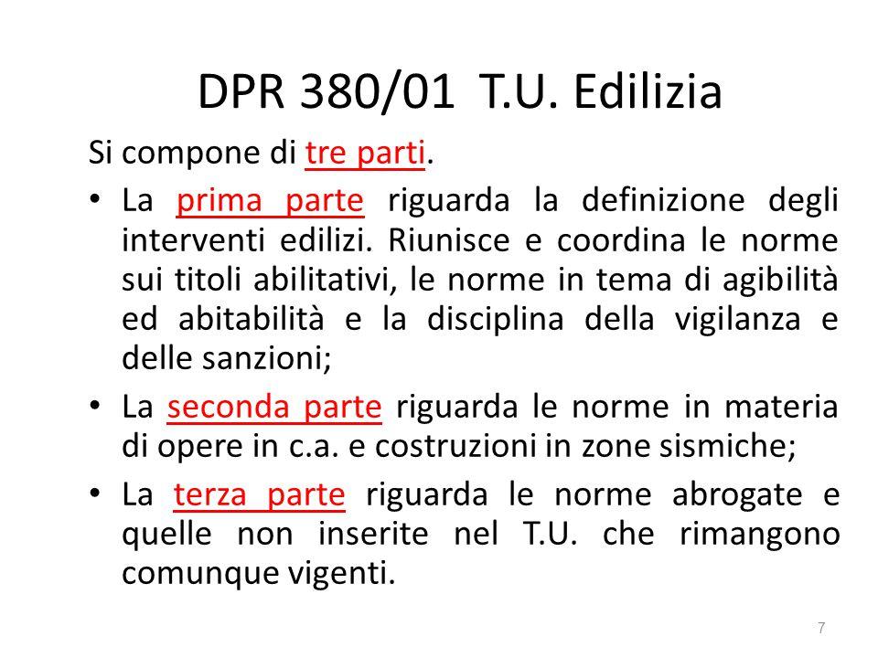 DPR 380/01 T.U. Edilizia Si compone di tre parti. La prima parte riguarda la definizione degli interventi edilizi. Riunisce e coordina le norme sui ti