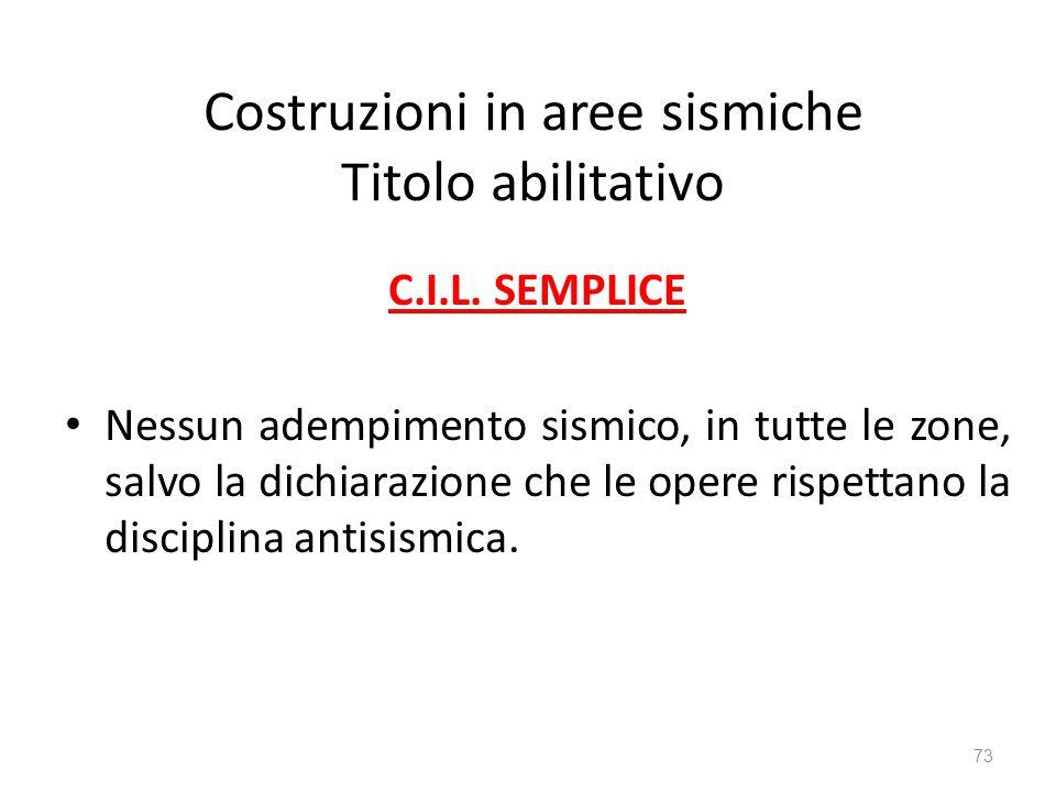 Costruzioni in aree sismiche Titolo abilitativo C.I.L. SEMPLICE Nessun adempimento sismico, in tutte le zone, salvo la dichiarazione che le opere risp