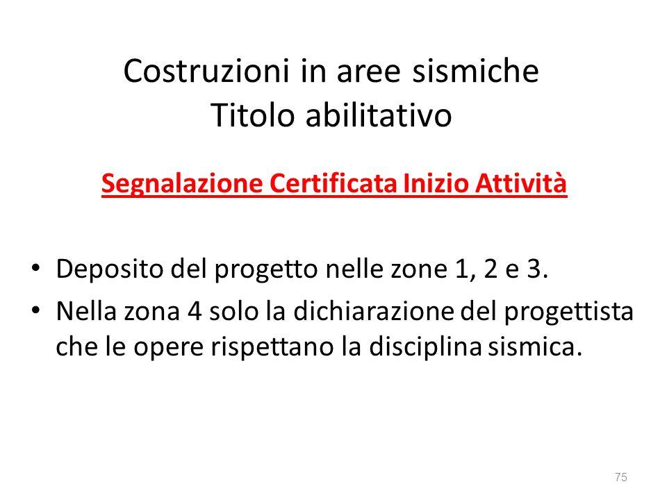 Costruzioni in aree sismiche Titolo abilitativo Segnalazione Certificata Inizio Attività Deposito del progetto nelle zone 1, 2 e 3. Nella zona 4 solo