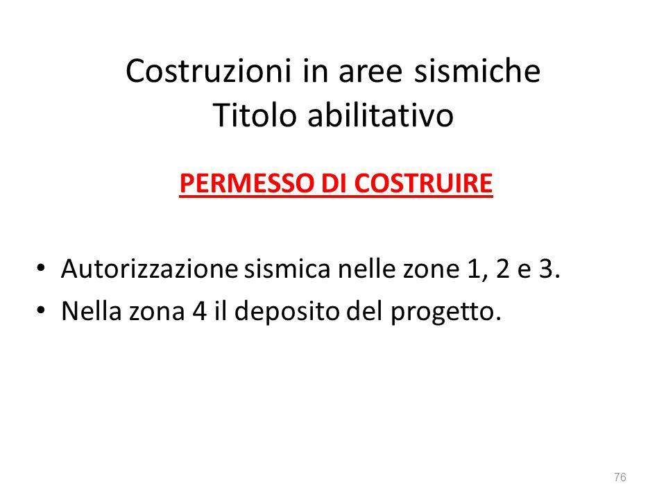Costruzioni in aree sismiche Titolo abilitativo PERMESSO DI COSTRUIRE Autorizzazione sismica nelle zone 1, 2 e 3. Nella zona 4 il deposito del progett