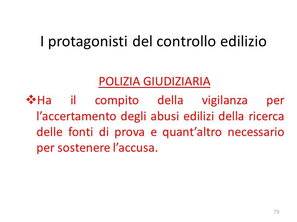I protagonisti del controllo edilizio POLIZIA GIUDIZIARIA  Ha il compito della vigilanza per l'accertamento degli abusi edilizi della ricerca delle f