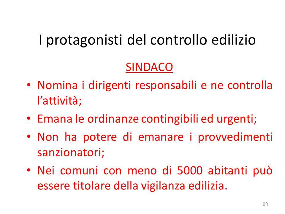 I protagonisti del controllo edilizio SINDACO Nomina i dirigenti responsabili e ne controlla l'attività; Emana le ordinanze contingibili ed urgenti; N