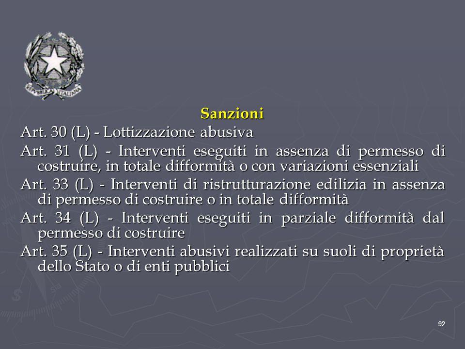 Sanzioni Art. 30 (L) - Lottizzazione abusiva Art. 31 (L) - Interventi eseguiti in assenza di permesso di costruire, in totale difformità o con variazi
