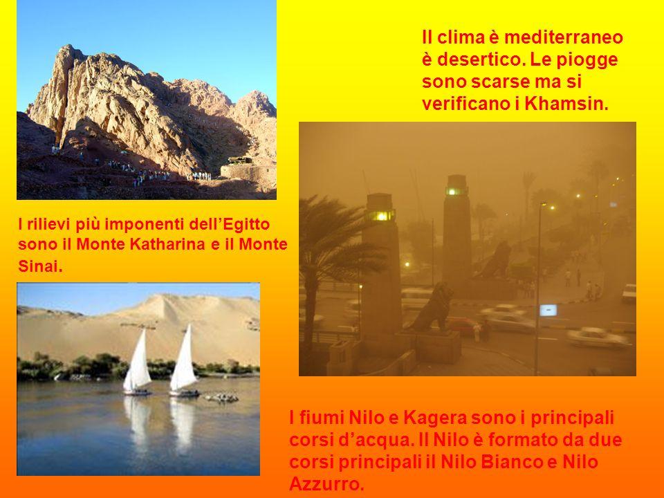 I rilievi più imponenti dell'Egitto sono il Monte Katharina e il Monte Sinai. I fiumi Nilo e Kagera sono i principali corsi d'acqua. Il Nilo è formato
