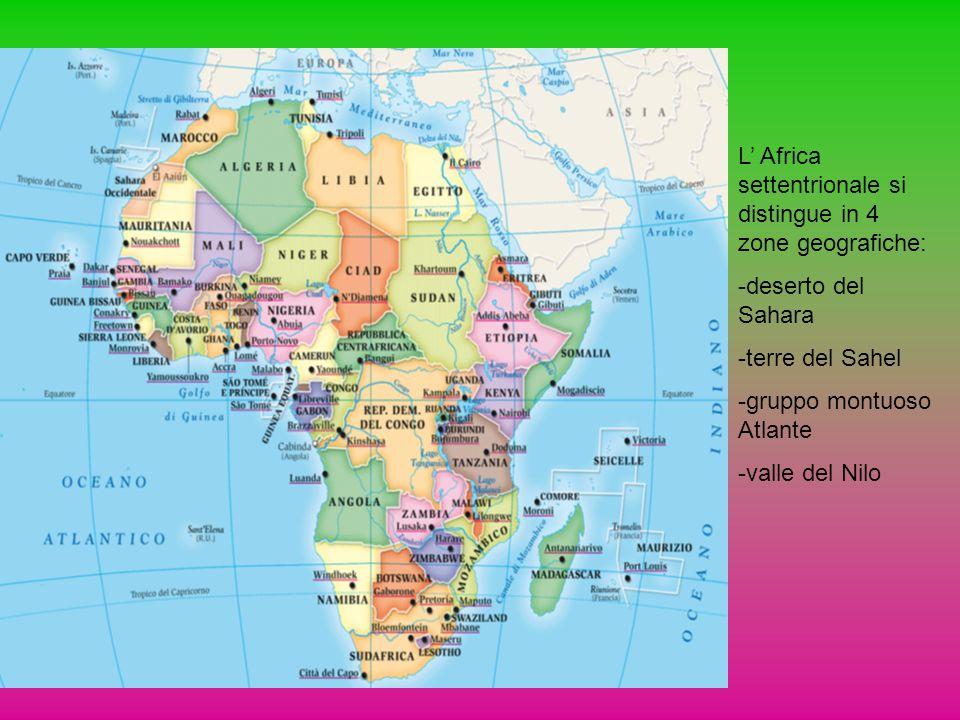 L' Africa settentrionale si distingue in 4 zone geografiche: -deserto del Sahara -terre del Sahel -gruppo montuoso Atlante -valle del Nilo