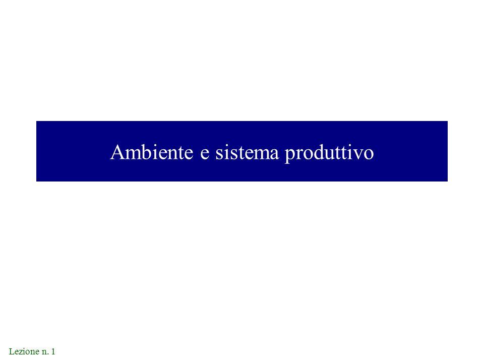 Lezione n. 1 Ambiente e sistema produttivo