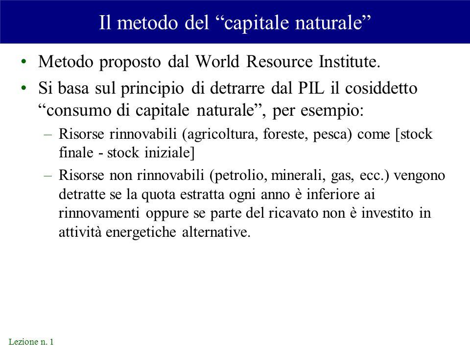 Lezione n.1 Il metodo del capitale naturale Metodo proposto dal World Resource Institute.