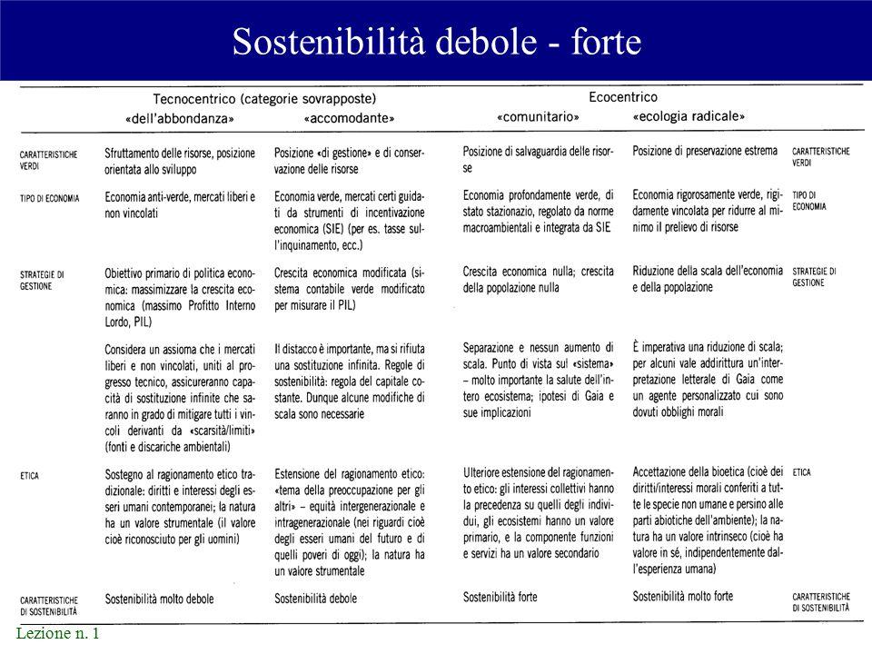 Lezione n. 1 Sostenibilità debole - forte