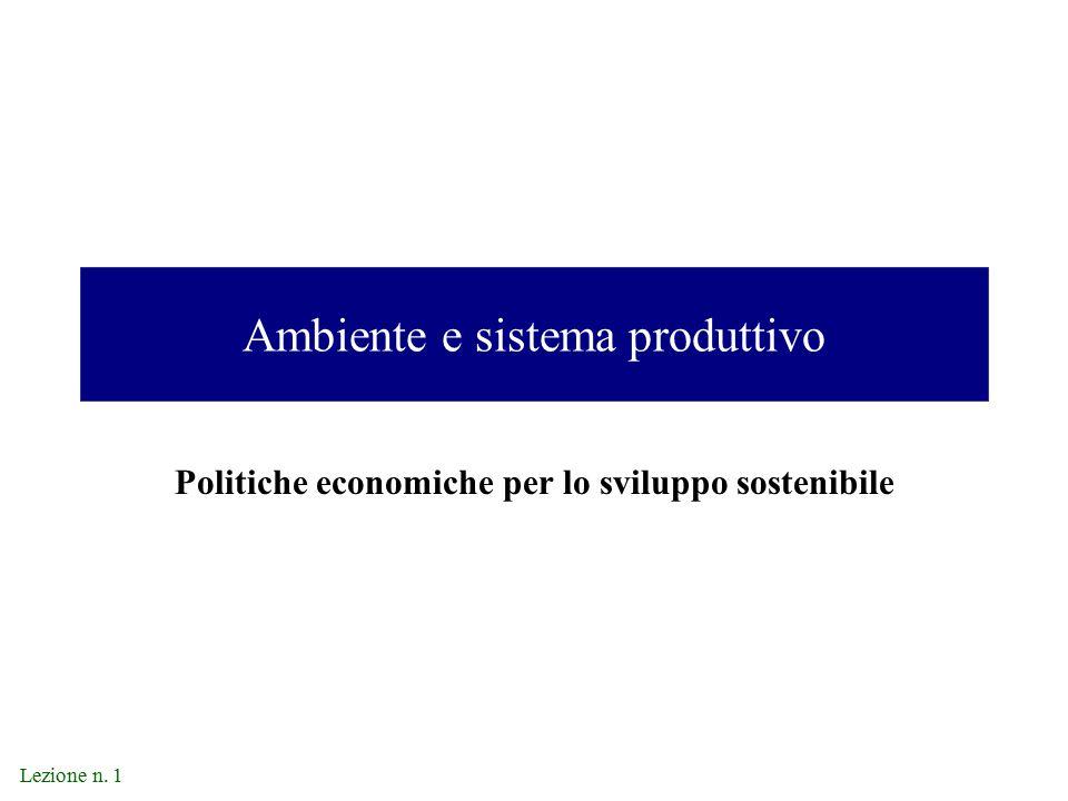 Lezione n. 1 Ambiente e sistema produttivo Politiche economiche per lo sviluppo sostenibile
