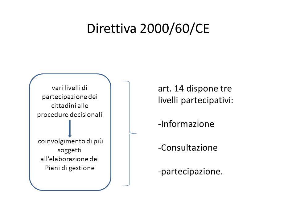 Direttiva 2000/60/CE vari livelli di partecipazione dei cittadini alle procedure decisionali coinvolgimento di più soggetti all'elaborazione dei Piani di gestione bacini idrografici art.
