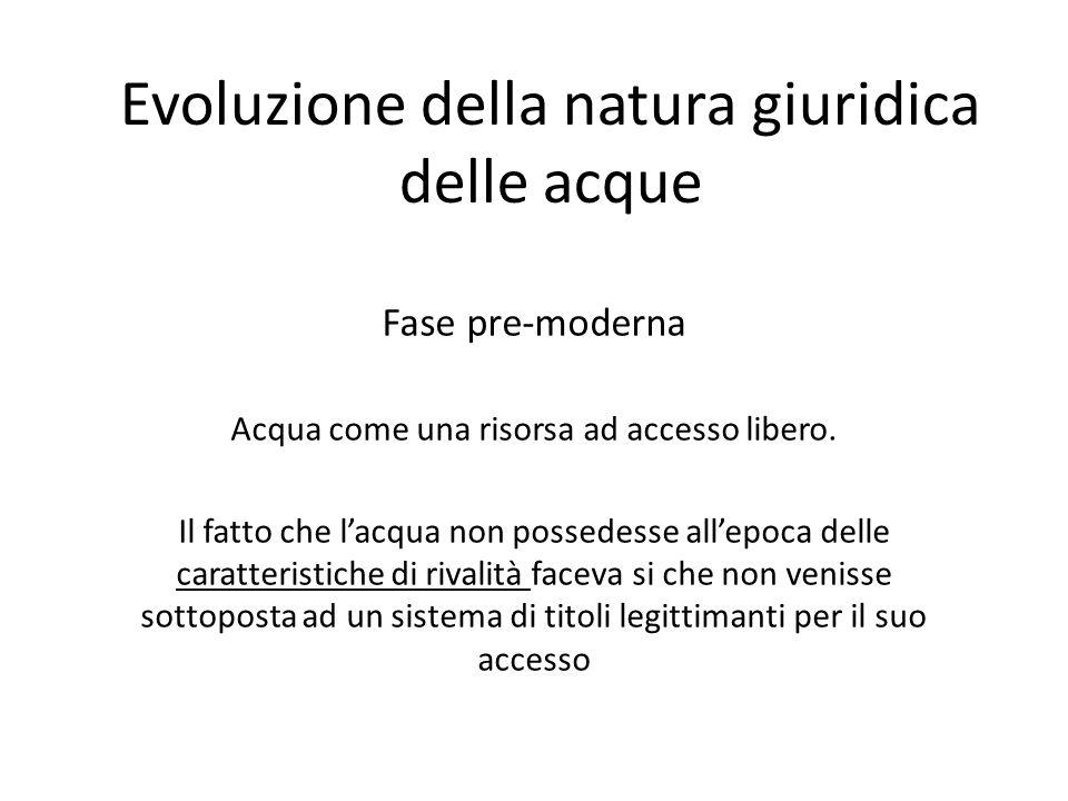 Evoluzione della natura giuridica delle acque Fase pre-moderna Acqua come una risorsa ad accesso libero.