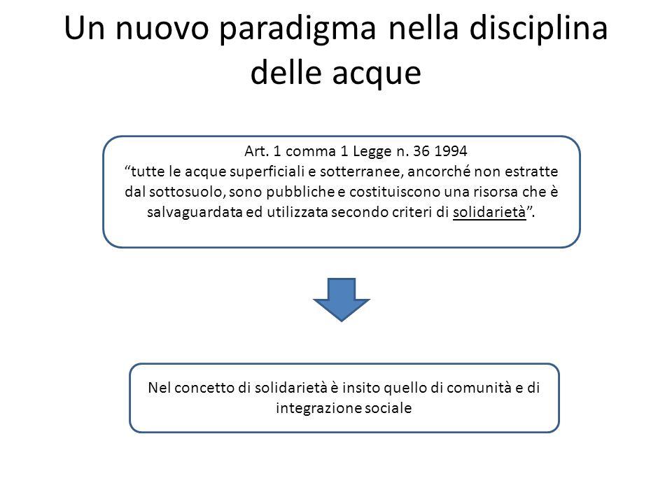 Un nuovo paradigma nella disciplina delle acque Art.
