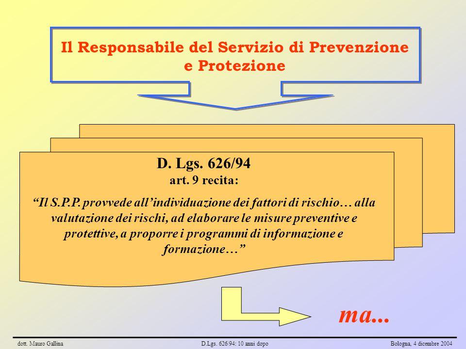 """Il Responsabile del Servizio di Prevenzione e Protezione D. Lgs. 626/94 art. 9 recita: """"Il S.P.P. provvede all'individuazione dei fattori di rischio…"""