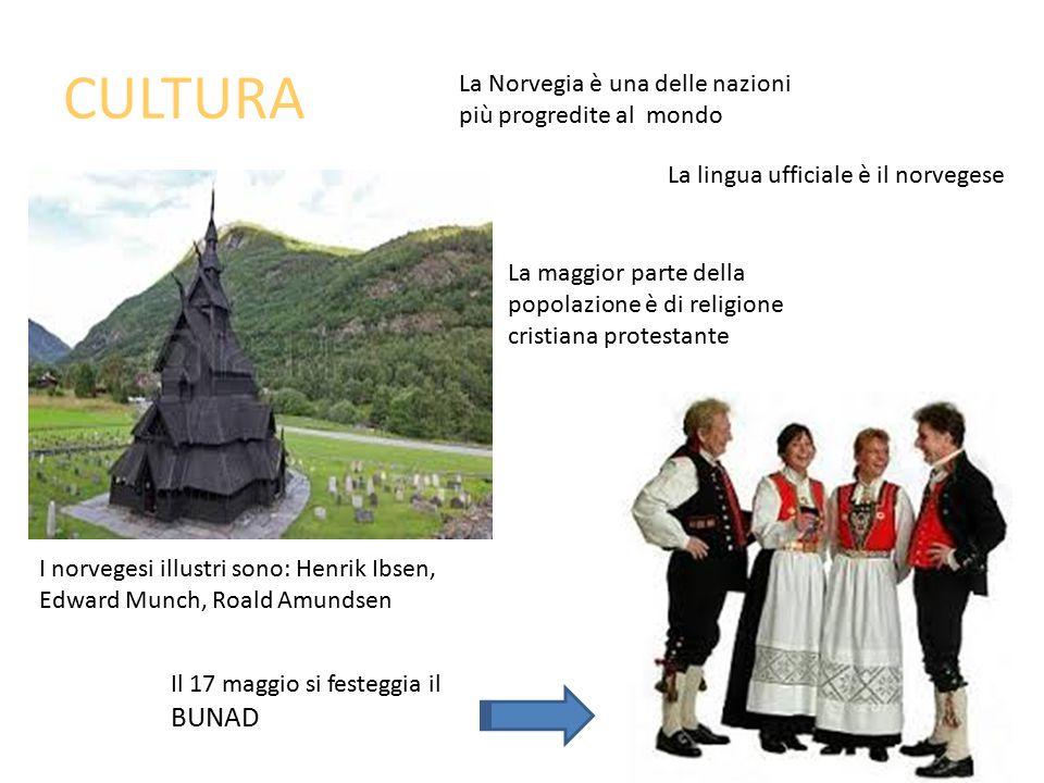 CULTURA La Norvegia è una delle nazioni più progredite al mondo La lingua ufficiale è il norvegese La maggior parte della popolazione è di religione cristiana protestante I norvegesi illustri sono: Henrik Ibsen, Edward Munch, Roald Amundsen Il 17 maggio si festeggia il BUNAD