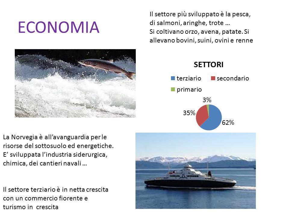 ECONOMIA Il settore più sviluppato è la pesca, di salmoni, aringhe, trote … Si coltivano orzo, avena, patate. Si allevano bovini, suini, ovini e renne