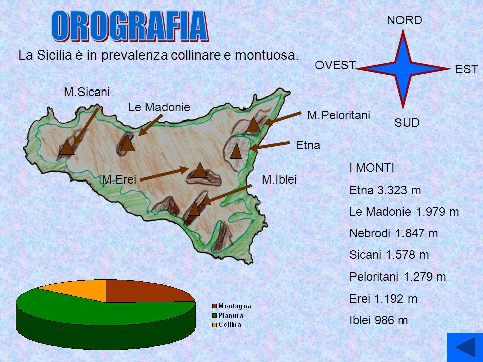 La Sicilia è in prevalenza collinare e montuosa. I MONTI Etna 3.323 m Le Madonie 1.979 m Nebrodi 1.847 m Sicani 1.578 m Peloritani 1.279 m Erei 1.192