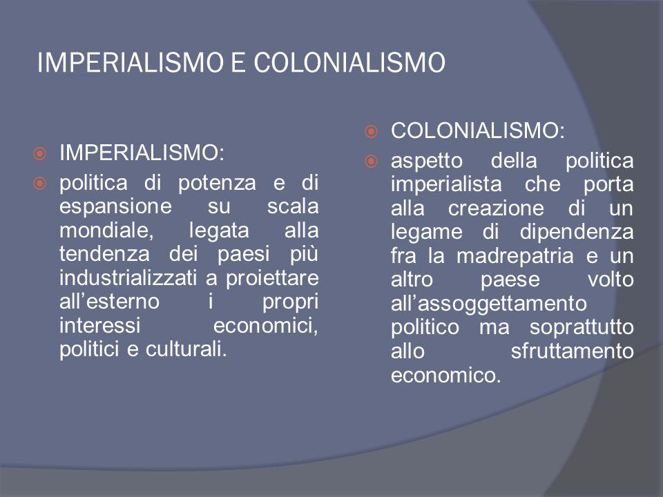 MOTIVAZIONI DI ORDINE IDEOLOGICO  Politica di forza dei governi  Nazionalismo e razzismo  Mito dell'uomo bianco che ha il compito di portare nel mondo la civiltà