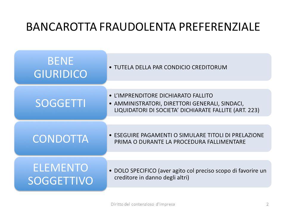 BANCAROTTA FRAUDOLENTA PREFERENZIALE 2Diritto del contenzioso d'impresa