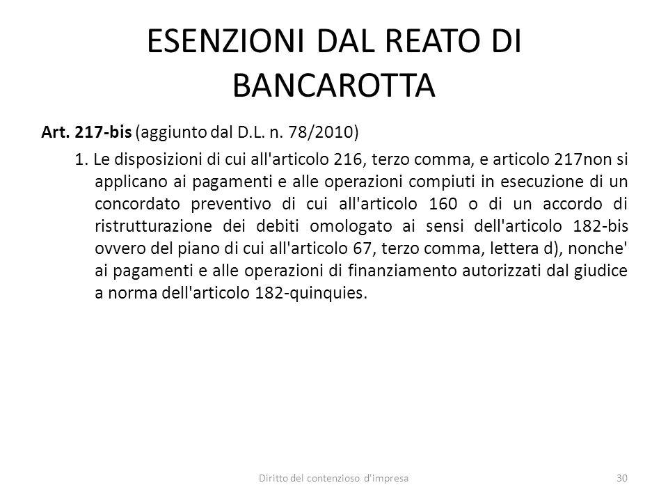 ESENZIONI DAL REATO DI BANCAROTTA Art. 217-bis (aggiunto dal D.L. n. 78/2010) 1. Le disposizioni di cui all'articolo 216, terzo comma, e articolo 217n