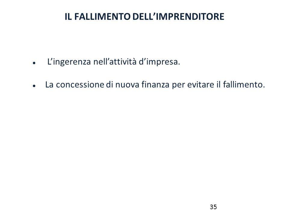 IL FALLIMENTO DELL'IMPRENDITORE L'ingerenza nell'attività d'impresa. La concessione di nuova finanza per evitare il fallimento. 35