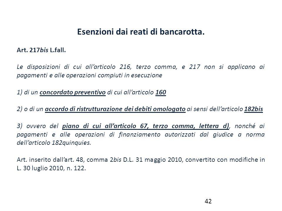 Esenzioni dai reati di bancarotta. Art. 217bis L.fall. Le disposizioni di cui all'articolo 216, terzo comma, e 217 non si applicano ai pagamenti e all