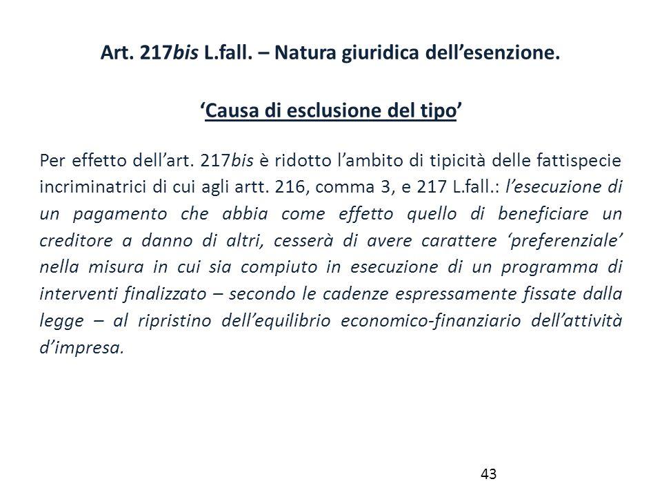 Art. 217bis L.fall. – Natura giuridica dell'esenzione. 'Causa di esclusione del tipo' Per effetto dell'art. 217bis è ridotto l'ambito di tipicità dell