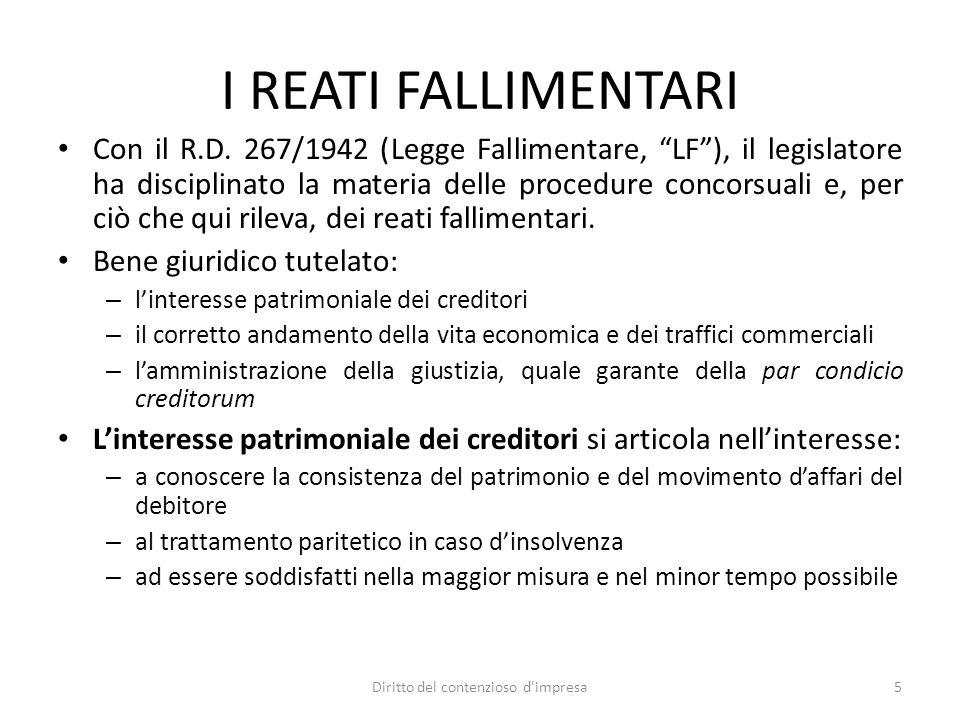 """I REATI FALLIMENTARI Con il R.D. 267/1942 (Legge Fallimentare, """"LF""""), il legislatore ha disciplinato la materia delle procedure concorsuali e, per ciò"""