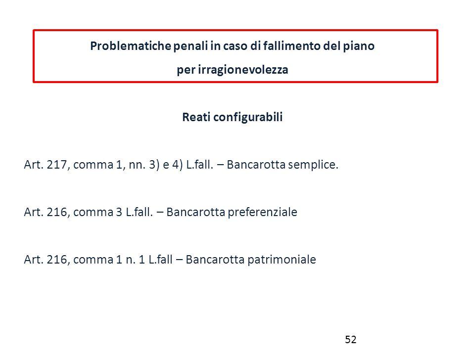 Problematiche penali in caso di fallimento del piano per irragionevolezza Reati configurabili Art. 217, comma 1, nn. 3) e 4) L.fall. – Bancarotta semp