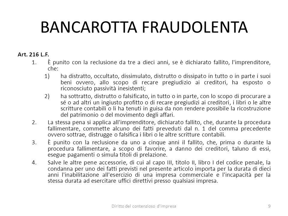 BANCAROTTA FRAUDOLENTA Art. 216 L.F. 1.È punito con la reclusione da tre a dieci anni, se è dichiarato fallito, l'imprenditore, che: 1)ha distratto, o