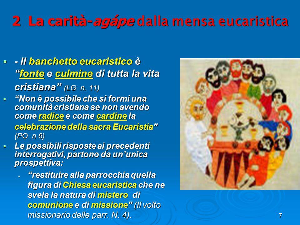 """7 2 La carità-agápe dalla mensa eucaristica  - II banchetto eucaristico è """"fonte e culmine di tutta la vita cristiana"""" (LG n. 11)  """"Non è possibile"""