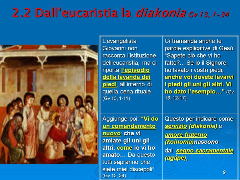 9 2.2 Dall'eucaristia la diakonia Gv 13, 1-34 L'evangelista Giovanni non racconta l'istituzione dell'eucaristia, ma ci riporta l'episodio della lavand