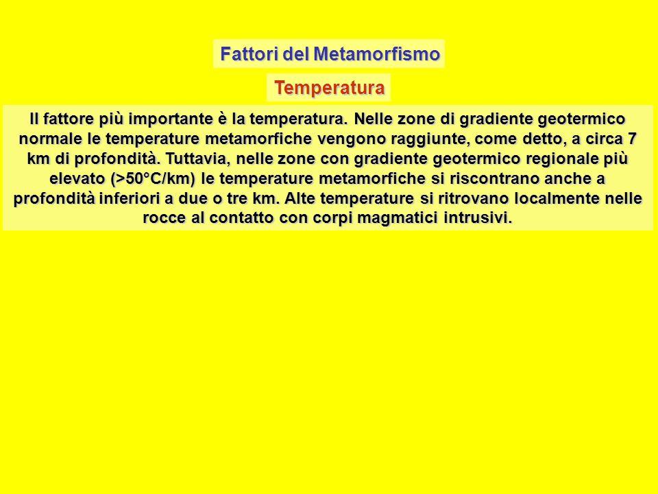 Fattori del Metamorfismo Temperatura Il fattore più importante è la temperatura. Nelle zone di gradiente geotermico normale le temperature metamorfich
