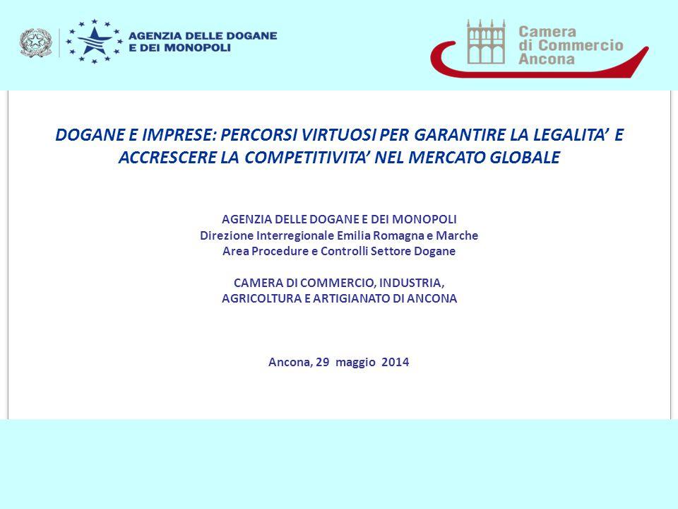 DOGANE E IMPRESE: PERCORSI VIRTUOSI PER GARANTIRE LA LEGALITA' E ACCRESCERE LA COMPETITIVITA' NEL MERCATO GLOBALE AGENZIA DELLE DOGANE E DEI MONOPOLI Direzione Interregionale Emilia Romagna e Marche Area Procedure e Controlli Settore Dogane CAMERA DI COMMERCIO, INDUSTRIA, AGRICOLTURA E ARTIGIANATO DI ANCONA Ancona, 29 maggio 2014