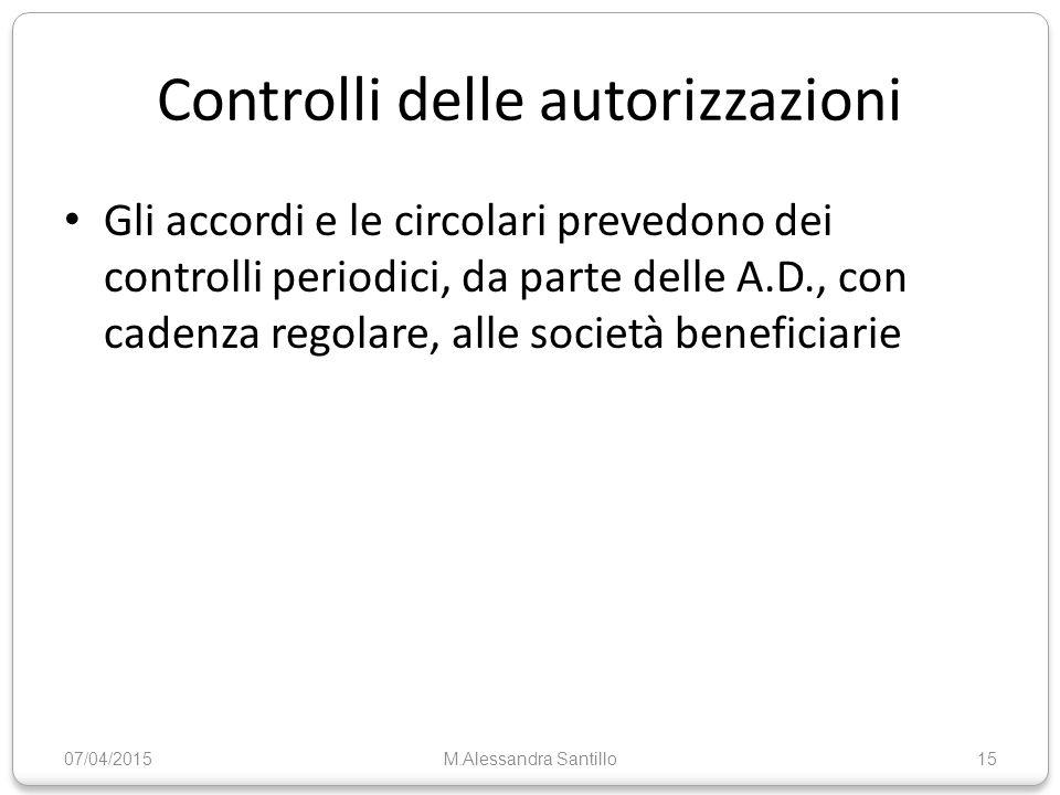 Controlli delle autorizzazioni Gli accordi e le circolari prevedono dei controlli periodici, da parte delle A.D., con cadenza regolare, alle società beneficiarie 07/04/2015M.Alessandra Santillo15