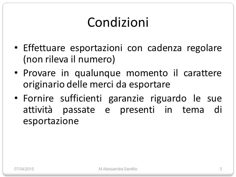 Riferimenti normativi Codice Doganale Comunitario Circolare 97 D/99 Circolare 227D/ 00 Circolare 45 D /02 Circolare 54 D /04 07/04/2015M.Alessandra Santillo14