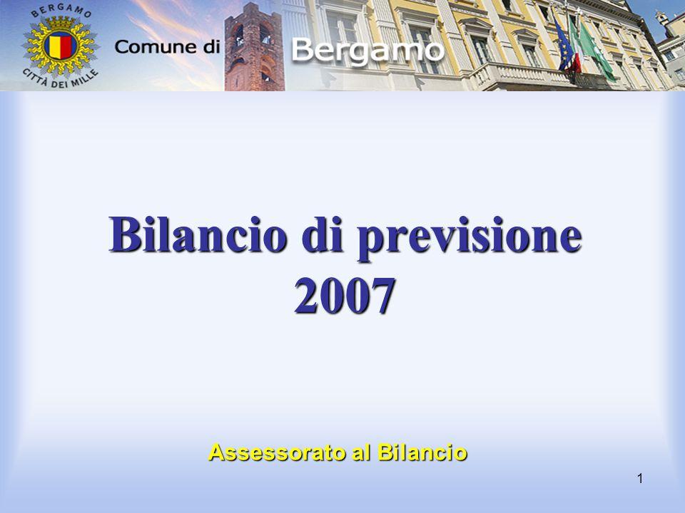 1 Bilancio di previsione 2007 Assessorato al Bilancio