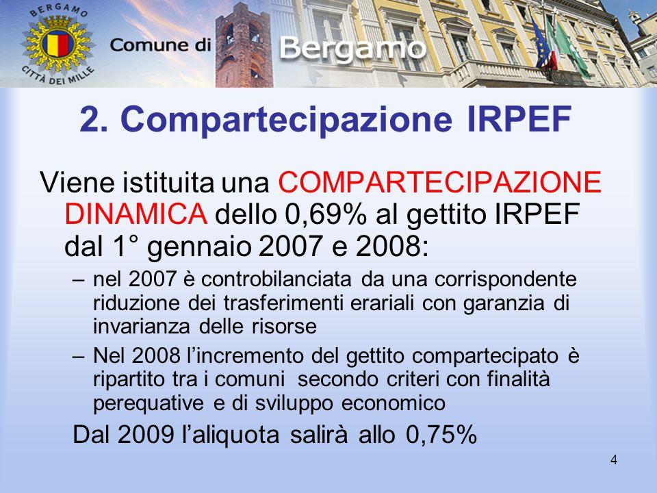 4 2. Compartecipazione IRPEF Viene istituita una COMPARTECIPAZIONE DINAMICA dello 0,69% al gettito IRPEF dal 1° gennaio 2007 e 2008: –nel 2007 è contr