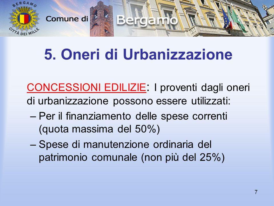 7 5. Oneri di Urbanizzazione CONCESSIONI EDILIZIE : I proventi dagli oneri di urbanizzazione possono essere utilizzati: –Per il finanziamento delle sp