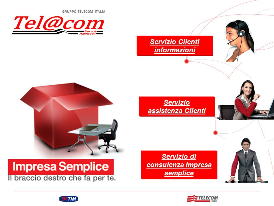 GRUPPO TELECOM ITALIA Servizio Clienti informazioni Servizio assistenza Clienti Servizio di consulenza Impresa semplice
