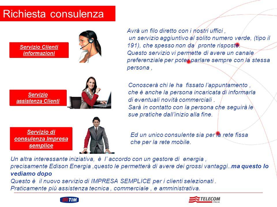 GRUPPO TELECOM ITALIA Richiesta consulenza Avrà un filo diretto con i nostri uffici, un servizio aggiuntivo al solito numero verde, (tipo il 191), che