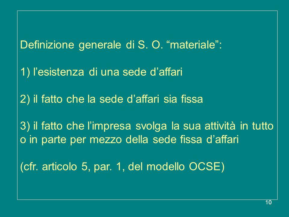 """10 Definizione generale di S. O. """"materiale"""": 1) l'esistenza di una sede d'affari 2) il fatto che la sede d'affari sia fissa 3) il fatto che l'impresa"""