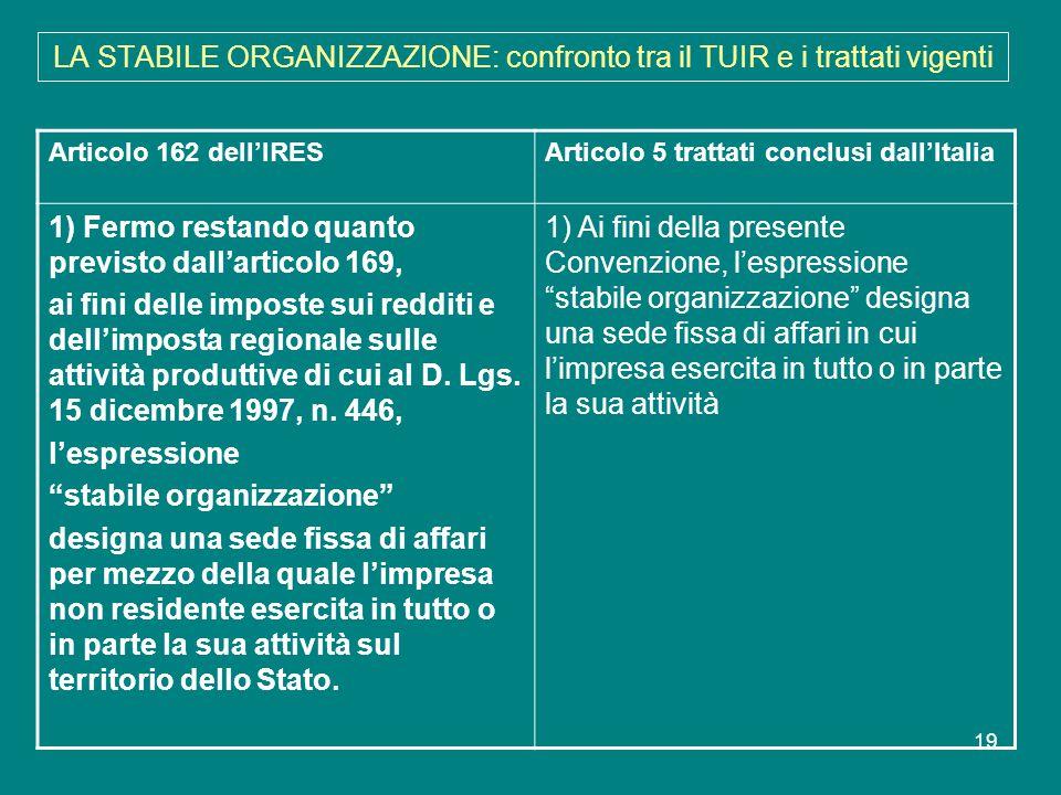 19 LA STABILE ORGANIZZAZIONE: confronto tra il TUIR e i trattati vigenti Articolo 162 dell'IRESArticolo 5 trattati conclusi dall'Italia 1) Fermo resta