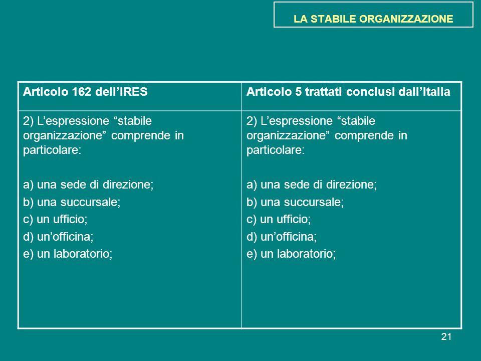 """21 LA STABILE ORGANIZZAZIONE Articolo 162 dell'IRESArticolo 5 trattati conclusi dall'Italia 2) L'espressione """"stabile organizzazione"""" comprende in par"""