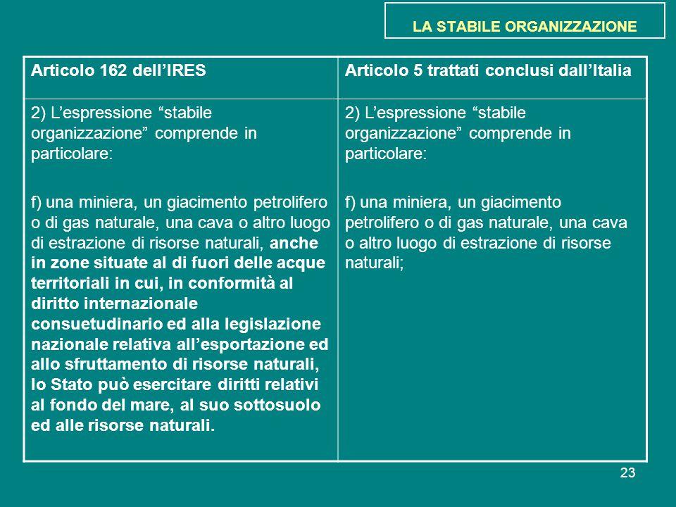 """23 LA STABILE ORGANIZZAZIONE Articolo 162 dell'IRESArticolo 5 trattati conclusi dall'Italia 2) L'espressione """"stabile organizzazione"""" comprende in par"""