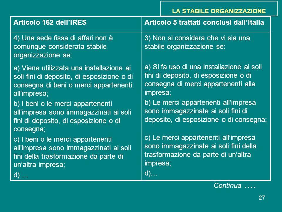 27 LA STABILE ORGANIZZAZIONE Articolo 162 dell'IRESArticolo 5 trattati conclusi dall'Italia 4) Una sede fissa di affari non è comunque considerata sta